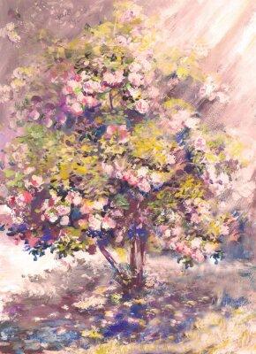 obraz olejny, delikatne kwitnący krzew z kwiatem, krajobraz wiosna