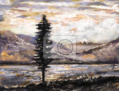 obraz olejny - góry, jezioro, mgła, drzewa. Ilustracja dzikiej przyrody. Nowoczesna grafika z góry.