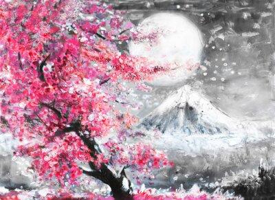 obraz olejny krajobraz z Sakura i górski, ręcznie rysowane ilustracji, Japonia