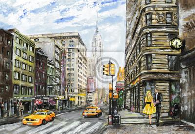 obraz olejny na płótnie, widok ulicy w Nowym Jorku, mężczyzna i kobieta, żółte taksówki, nowoczesna grafika, amerykańskiego miasta, ilustracji Nowym Jorku