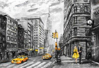 obraz olejny na płótnie, widok ulicy w Nowym Jorku, mężczyzna i kobieta, żółte taksówki, nowoczesna grafika, New York w szarych i żółtych kolorach, amerykańskiego miasta, ilustracji Nowym Jorku