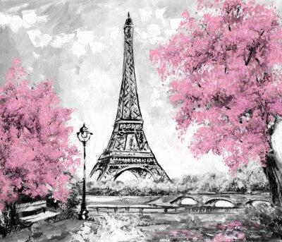 Obraz olejny, Paryż. europejski krajobraz miasta. Francja, Tapeta, Wieża Eiffla. Czarny, biały i różowy, Sztuka współczesna