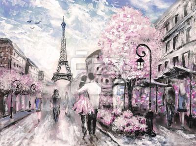 Obraz olejny, Ulica Widok na Paryż. .european krajobraz miasta