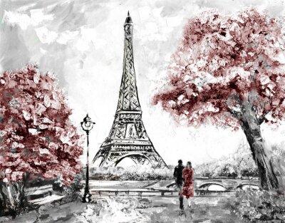 Obraz olejny, Ulica Widok na Paryż. przetarg krajobraz