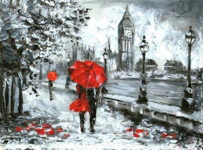 obraz olejny, widok ulicy w Londynie. Grafika, czarny, biały i czerwony, Big Ben