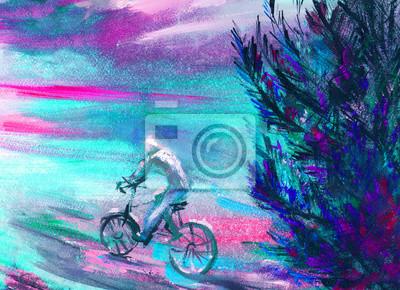 obraz olejny, wypoczynek, człowiek na rowerze, wyciągnąć rękę, twórczy tle