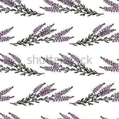 Naklejka Obsługiwany wzór z ręką rysującą wrzos gałąź. Piękne kwiatowe elementy, idealne do wydruków i wzorów.