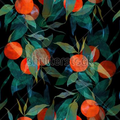 Naklejka odciska subtropical drzewo mandarynki z owocami i liśćmi. ręcznie malowane wzór. cyfrowy i akwarela. tło dla wystroju i wzornictwa tekstylnego. Tapeta. mieszana ramka multimediów