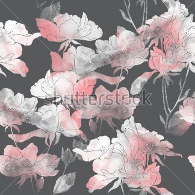 Naklejka odciski kwiatów i liści dzikiej róży. ręcznie malowane wzór. cyfrowy rysunek i akwarela tekstury. tło dla wystroju i wzornictwa tekstylnego. tapeta botaniczna. różne środki przekazu. kwiatowy rama