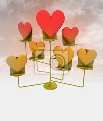 oddział złote i czerwone serca z nieba