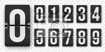 Naklejka Odliczanie liczb klapki licznik wektor na białym tle zestaw. Zegary mechaniczne w stylu retro lub tablice wyników od 1 do 0 ustawiają kolor biały na czarnym