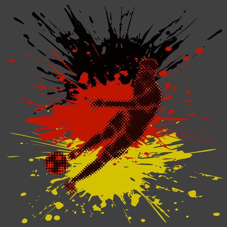 Odosobniona postać gracz piłki nożnej z półtonowym skutkiem i farb pluśnięciami.