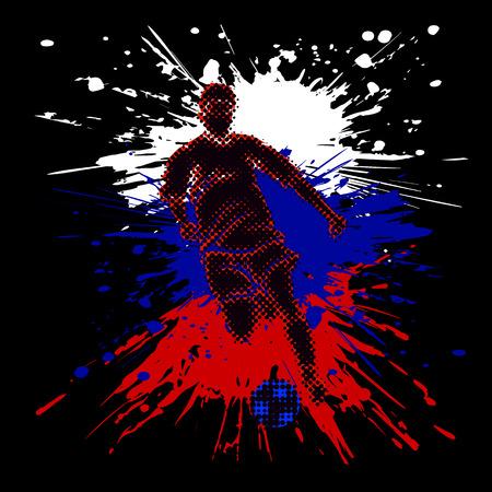 Odosobniona postać gracz piłki nożnej z półtonowym skutkiem. Jasne plamy tworzące rosyjską flagę.