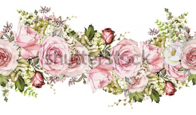 Naklejka odosobniony Bezszwowa granica z różowymi kwiatami, liśćmi. Vintage akwarela kwiatowy wzór z liści i róży. Kolor pastelowy. Bezszwowa kwiecista obręcz, opaska na karty, wesele lub materiał.