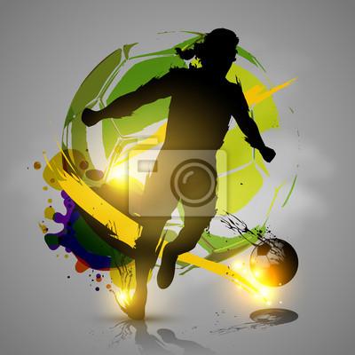 odtwarzacz sylwetkę piłkarskie rozpryskuje atramentowe