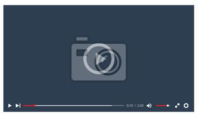 Naklejka Odtwarzacz wideo na płaskiej stylu. Idealny dla aplikacji internetowych