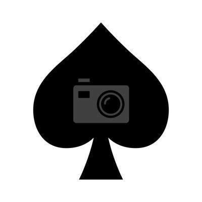 Naklejka Odtwarzanie karty pik garnitur płaską ikonę aplikacji i stron internetowych