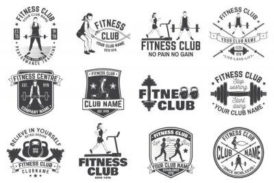 Naklejka Odznaki klubu fitness. Wektor. Dla emblematów centrów fitness, tablic gimnastycznych i innych.