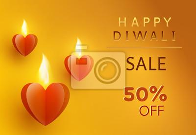 Oferta Diwali ze świecącymi papierowymi sercami. 50 zniżki na sprzedaż plakat na żółtym tle. Transparent promocyjny wektor.