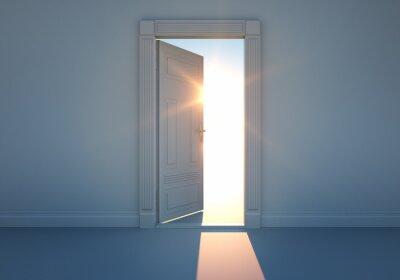 Naklejka Offene Tür mit Sonnenlicht