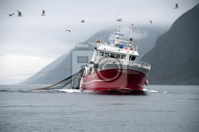 Naklejka Offshore cutter w północnym Atlantyku na wyprawę wędkarską.