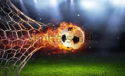 Naklejka Ognista Piłka W Bramce Z Netto W Płomieniach