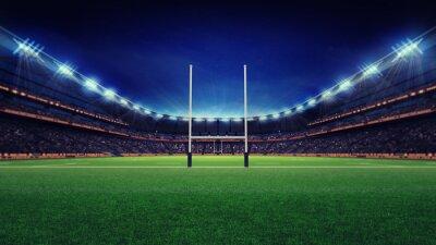 Ogromny stadion rugby z fanami i trawa zielona