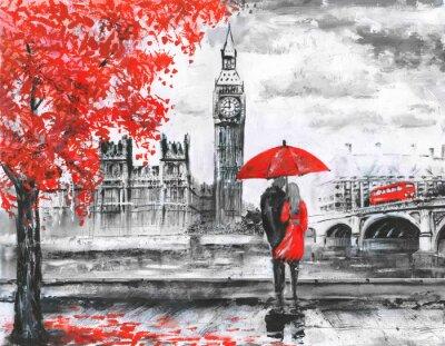 Naklejka .oil malowanie na płótnie, widok ulicy w Londynie, rzeki i autobusu na moście. Praca plastyczna. Big Ben. mężczyzna i kobieta pod czerwonym parasolem