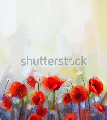 Naklejka Oil  painting red poppy  flowers.  Spring  floral nature background