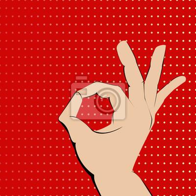Ok ręka na czerwono plamkami tła.