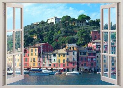Naklejka Okno długopis widok na stare Portofino, Włochy