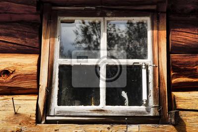 Okno starym domku w Norwegii