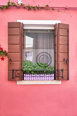 Okno z brązowymi okiennicami i kwiatami w doniczce. Włochy, Wenecja, Burano
