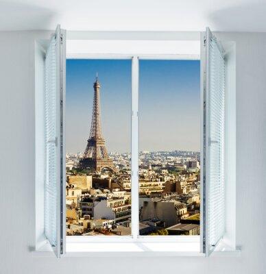 Naklejka Okno z wieży Eiffla i dachy widoku