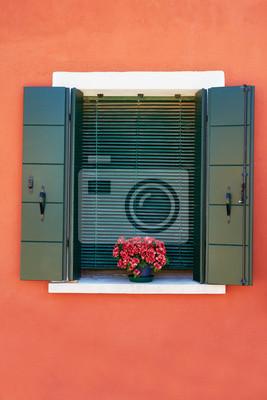 Okno z zielonymi okiennicami i czerwonymi kwiatami w doniczce. Tradycyjne kolorowe ściany i okna. Włochy, Wenecja, Burano