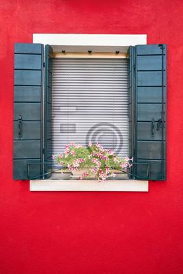 Okno z zielonymi okiennicami i różowe kwiaty w doniczce. Włochy, Wenecja, Burano