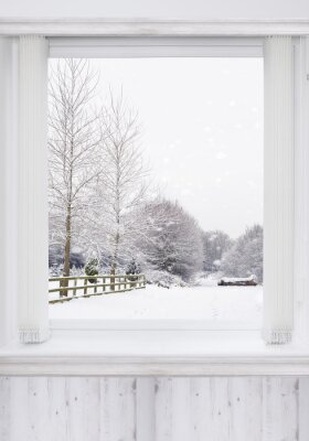 Naklejka Okno Zima