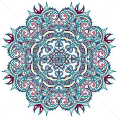 Naklejka Okrągły ornament, ozdobna okrągła koronka
