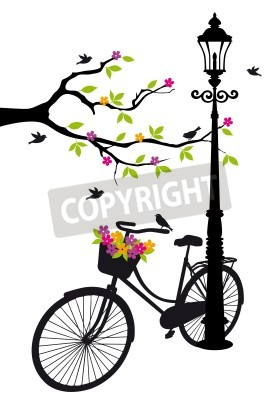Naklejka old bicycle with lamp, flowers and tree