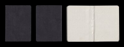Old Black Gray Shabby Notebook Notepad Book Booklet. Back Front Inside. Paper Texture Isolated on Black