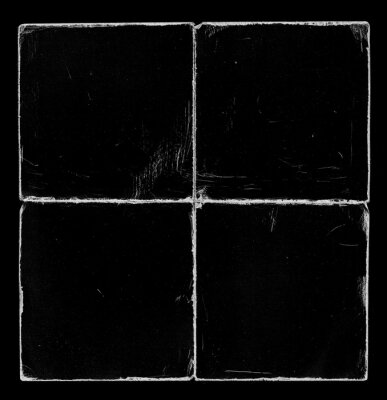 Old Black Square Empty Ripped Folded Torn Cardboard Paper Poster. Grunge Scratched Old Shabby Surface. Distressed Overlay Texture for Collage.