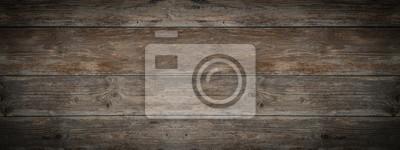 Naklejka old brown rustic dark weathered wooden texture - wood background panorama banner long