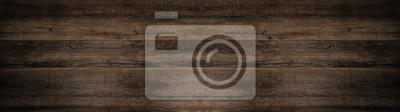 Naklejka old brown rustic dark wooden texture - wood background panorama long banner