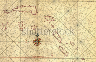 Naklejka Old map and Compass Rose