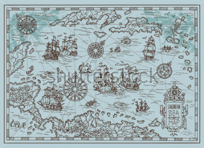 Naklejka Old map of the Caribbean Sea with pirate ships, treasure islands, fantasy creatures. Pirate adventures, treasure hunt and old transportation concept. Hand drawn vector illustration, vintage background