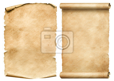 Naklejka Old worn paper sheet and scroll isolated on white