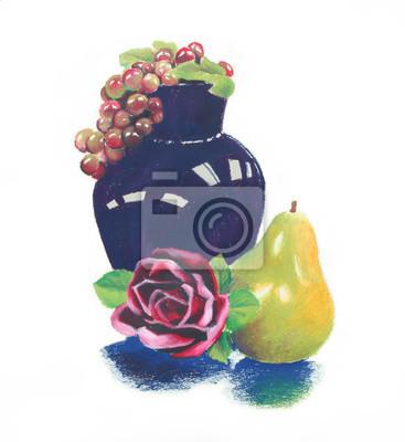 Naklejka Olej pastelowych jasny kolorowy martwa natura ciemnoniebieski wazonie i fioletowych winogron z różowy czerwona róża i zielone żółte gruszki skład owoce, ręcznie rysowane ilustracji clipartów jest izol