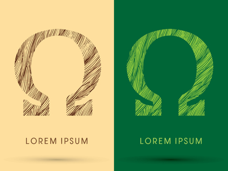 Omega, Font, concept line stroke , wood and leaf, grass, graphic vector.