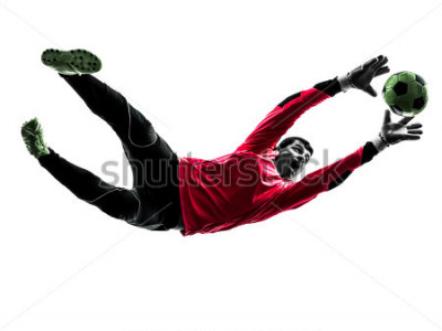 Naklejka one caucasian soccer player goalkeeper man catching ball in silhouette isolated white background