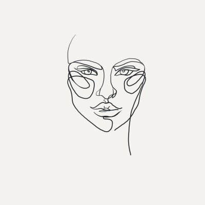 one line drawing face for spa, nail, t-shirt , cosmetics
